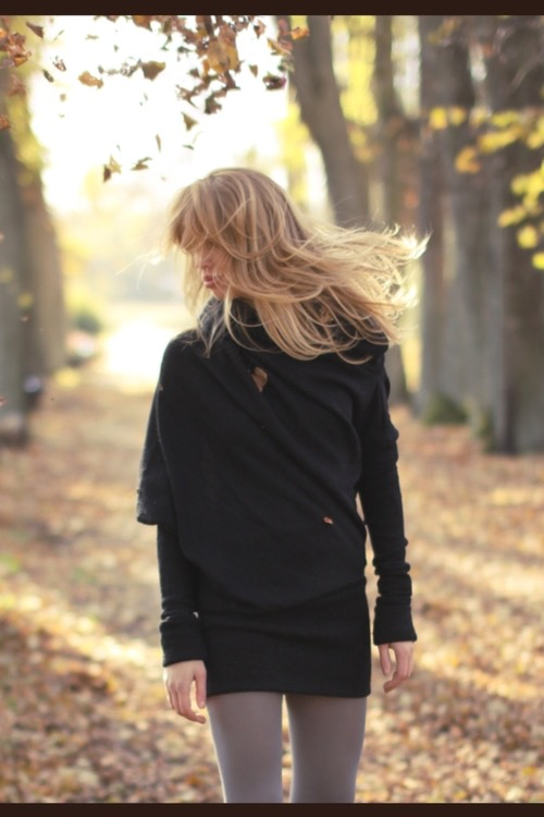 Long sweater dress in black wool MUSE