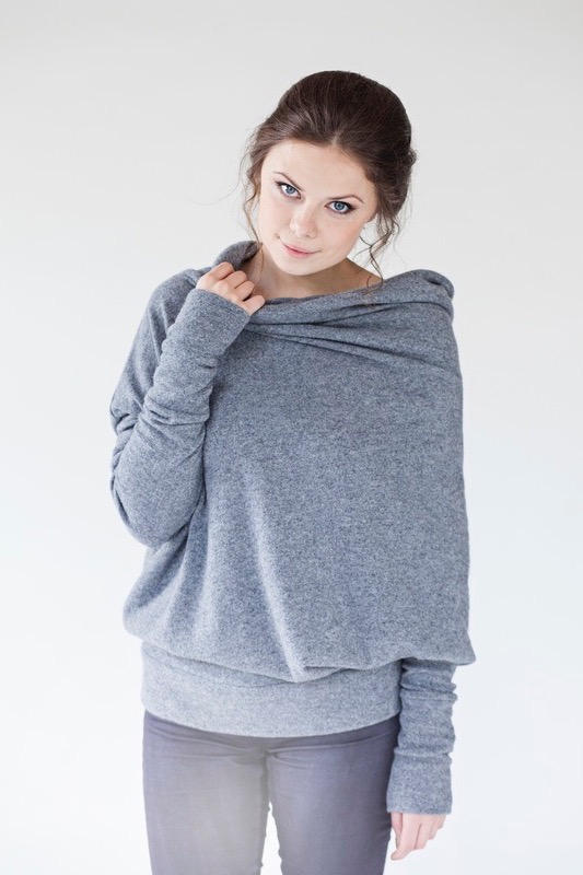 Long sleeve sweater in grey wool with buttons ASYMMETRIC