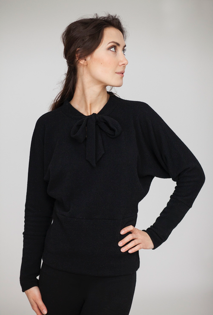 Black wool sweater with a bow SYMMETRIC