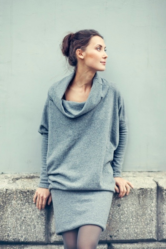 Grey sweater dress in wool LAB SPECIAL DESIGNER CUT