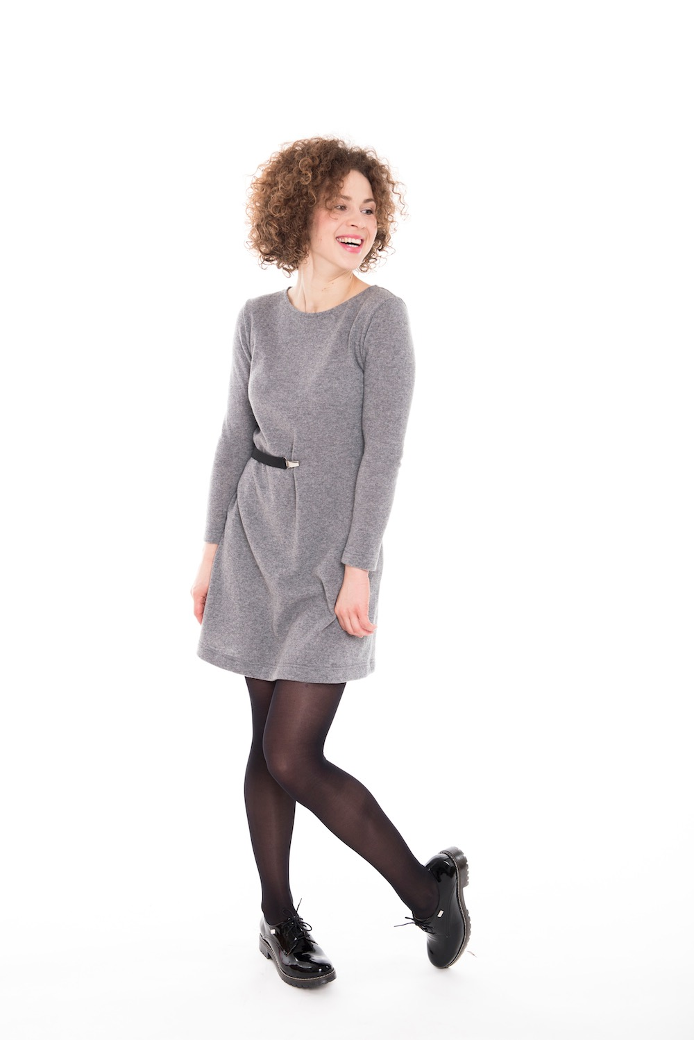 Gray sweater dress in wool DANCE