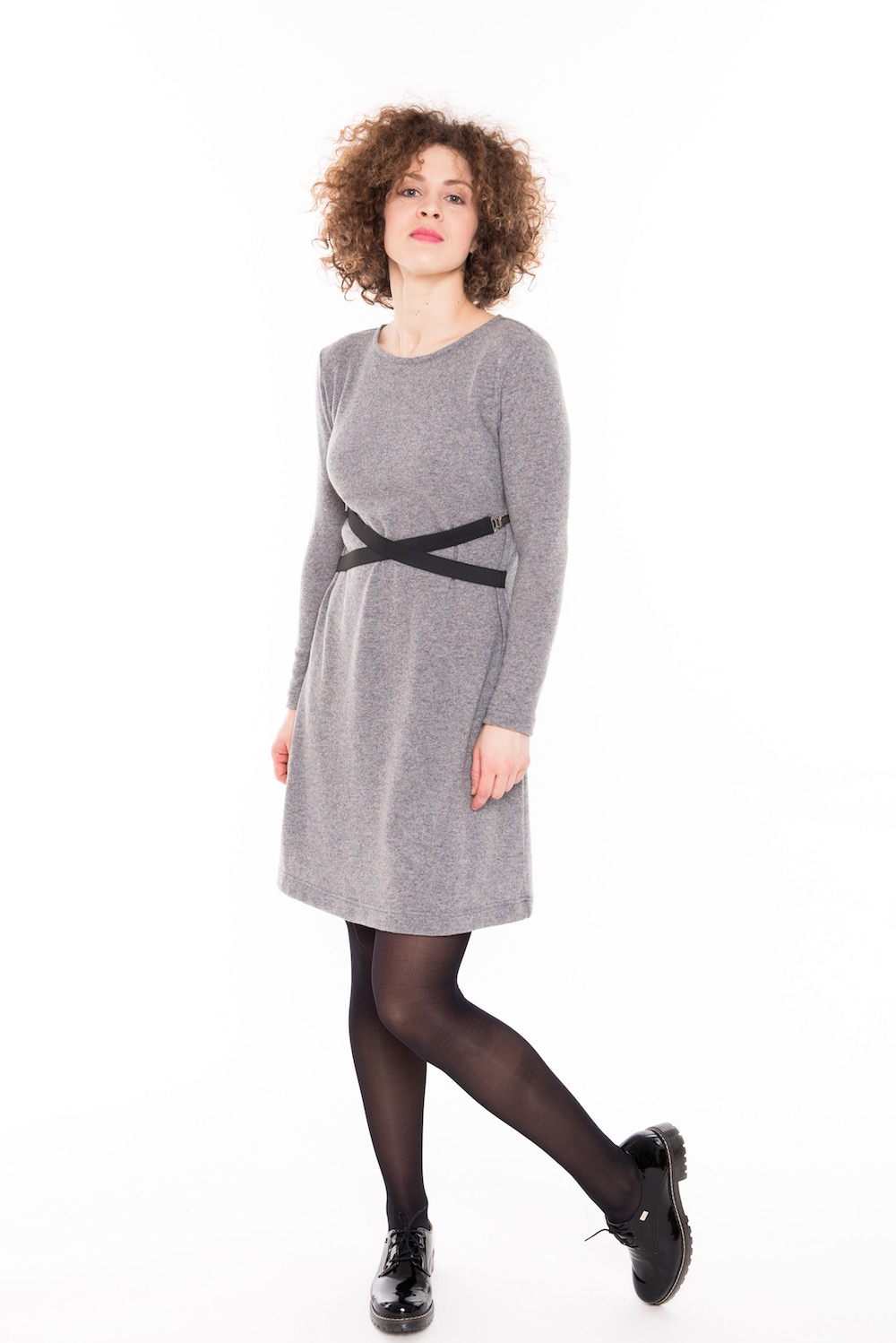 LeMuse gray DANCE woolen dress with two straps
