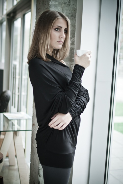 LeMuse black FLOW asymmetric blouse with buttons