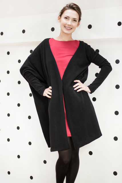 Black wool cardigan WIDE