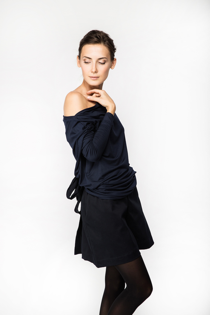 LeMuse deep blue FLOW asymmetric blouse with buttons