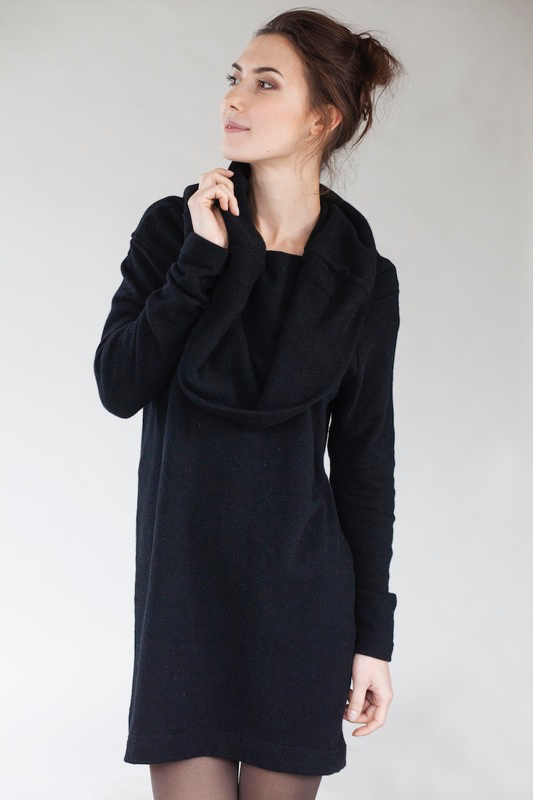 Sexy sweater dress in black wool BIG NECK