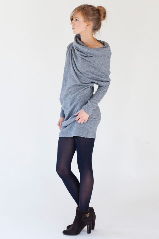 Winter dress in grey wool WAVE