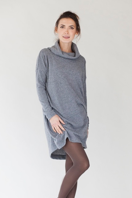 Oversized sweater dress in grey wool OVERSIZED