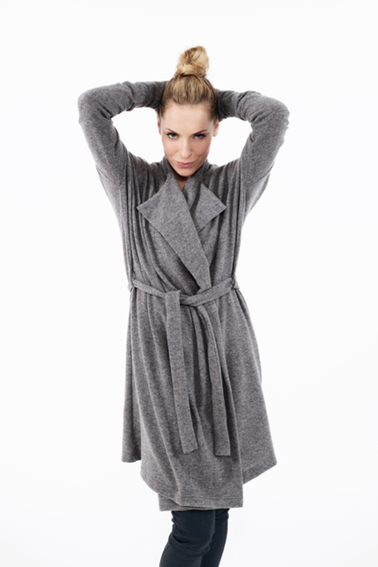 Long wool cardigan in grey LONG