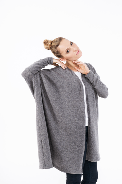 Oversized wool cardigan in grey WIDE