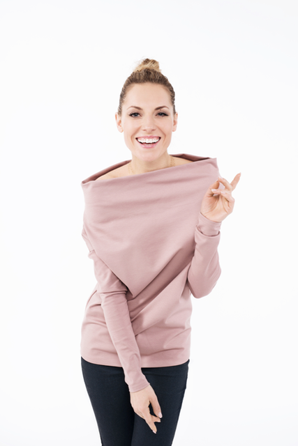 LeMuse dusty rose CANDY blouse with open shoulders