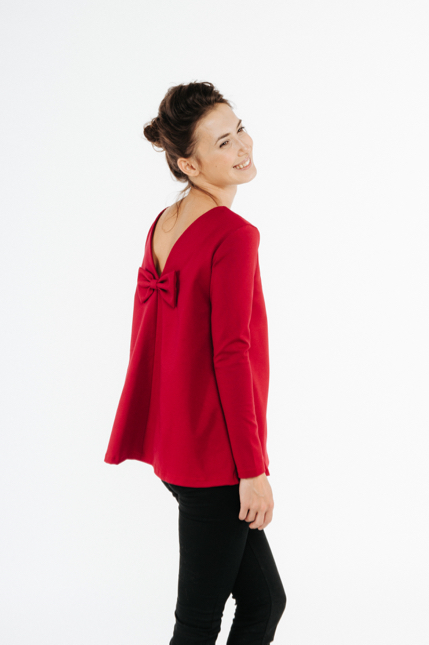 LeMuse red KISS blouse