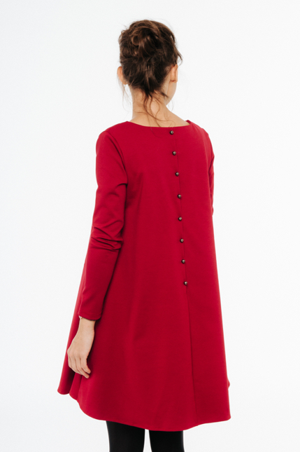LeMuse red CALMNESS dress with buttons