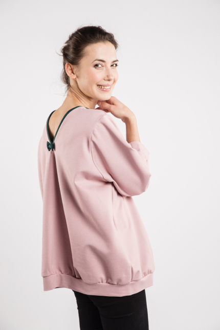 LeMuse dusty rose BUBBLE bow blouse