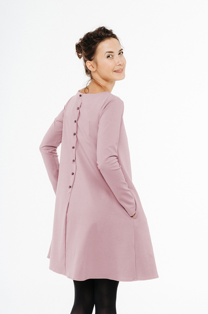LeMuse dusty rose CALMNESS dress with buttons