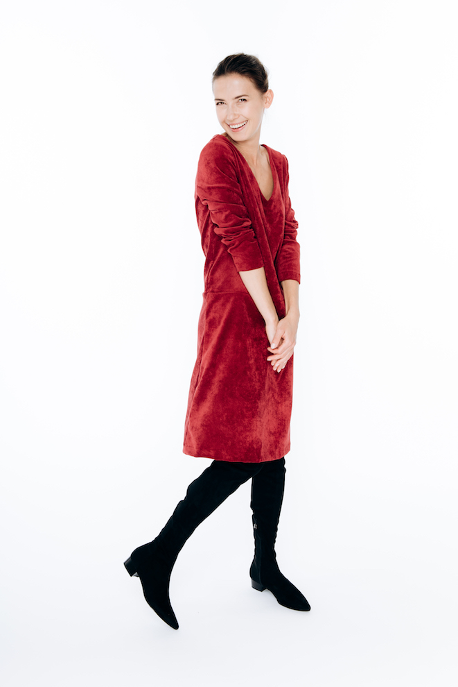 LeMuse red CONCERT corduroy dress