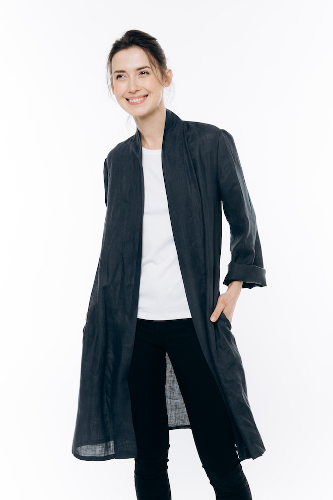 Longline linen cardigan in deep blue LINA