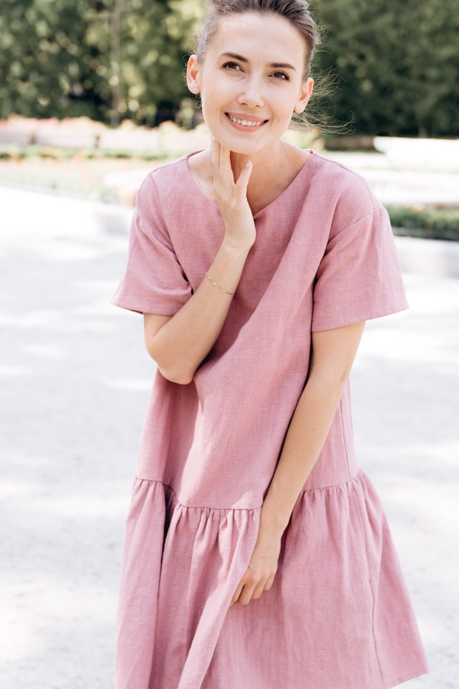 Pink linen dress BLOSSOM