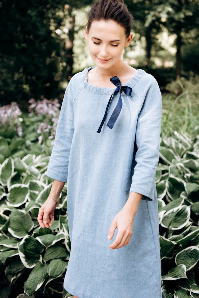 Linen cocktail dress in light blue FRENCH