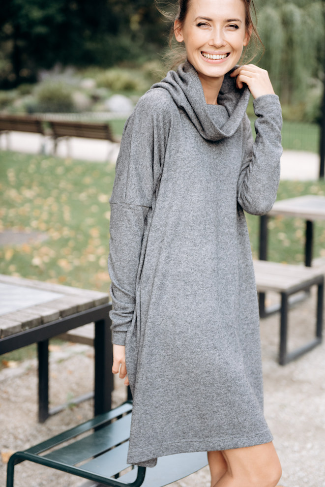 Long sweater dress in grey wool OVERSIZE