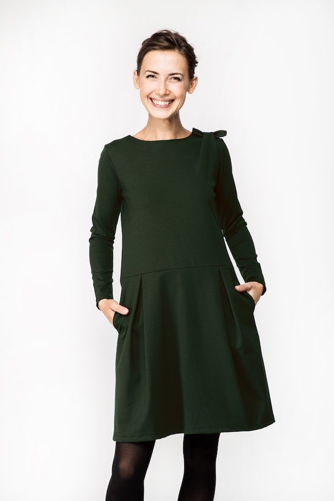 LeMuse gray-green SOFIA BOW dress