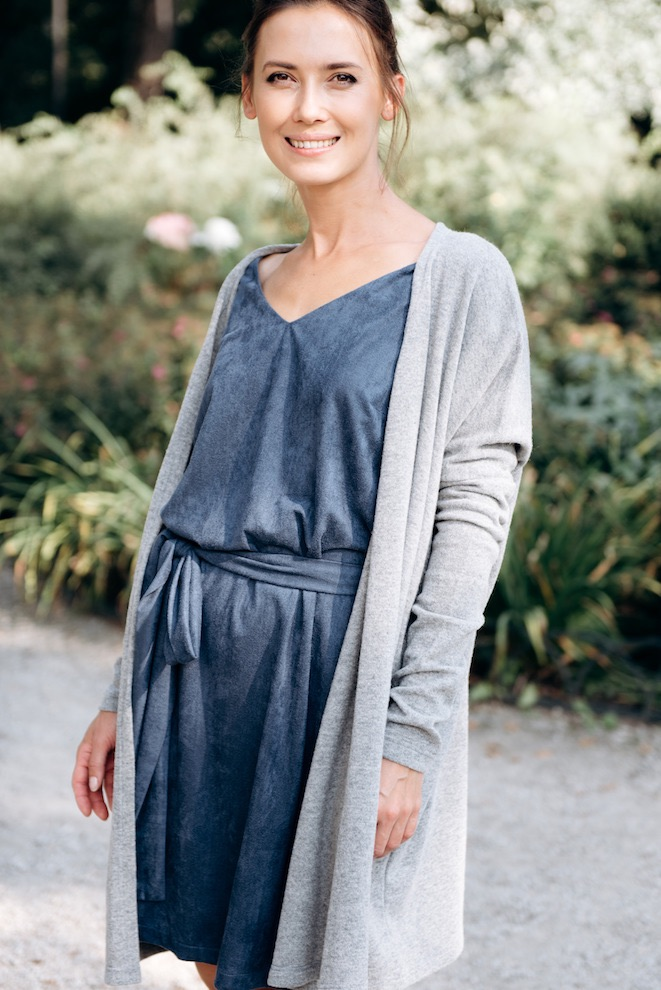 Gray cardigan in wool PASSION