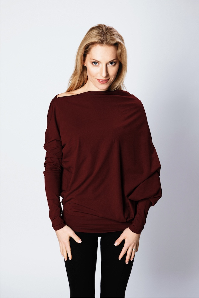 LeMuse burgundy ASYMMETRIC blouse