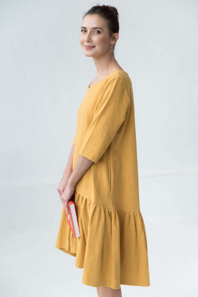 Yellow linen dress DISCO