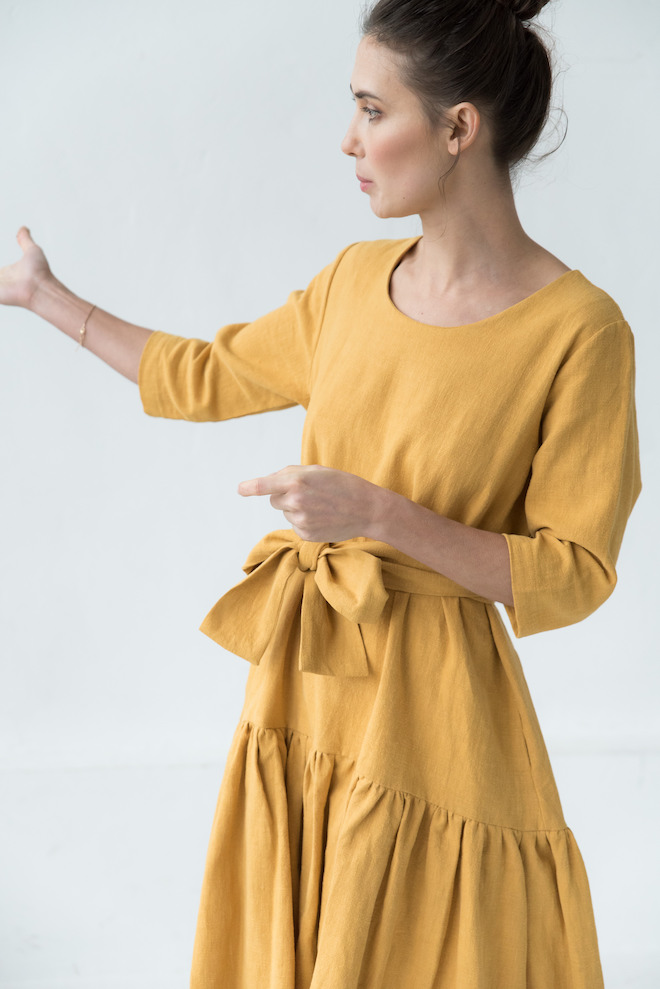 Linen belted dress in yellow MIA