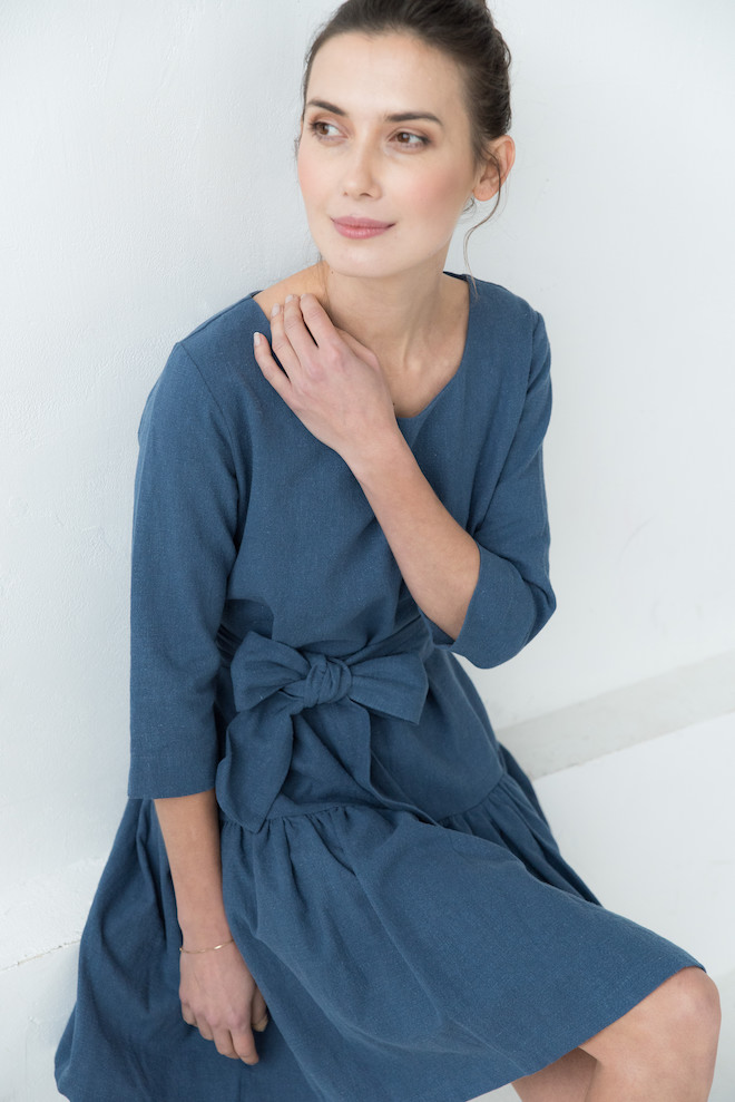 Elegant linen dress in blue GRACE