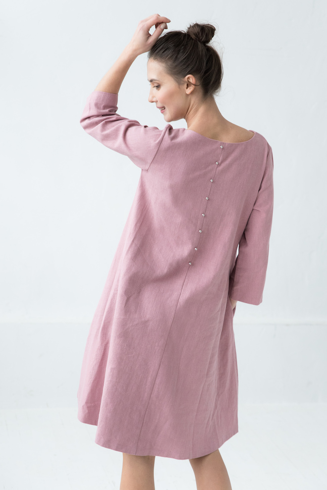 Dusty rose linen dress CALMNESS