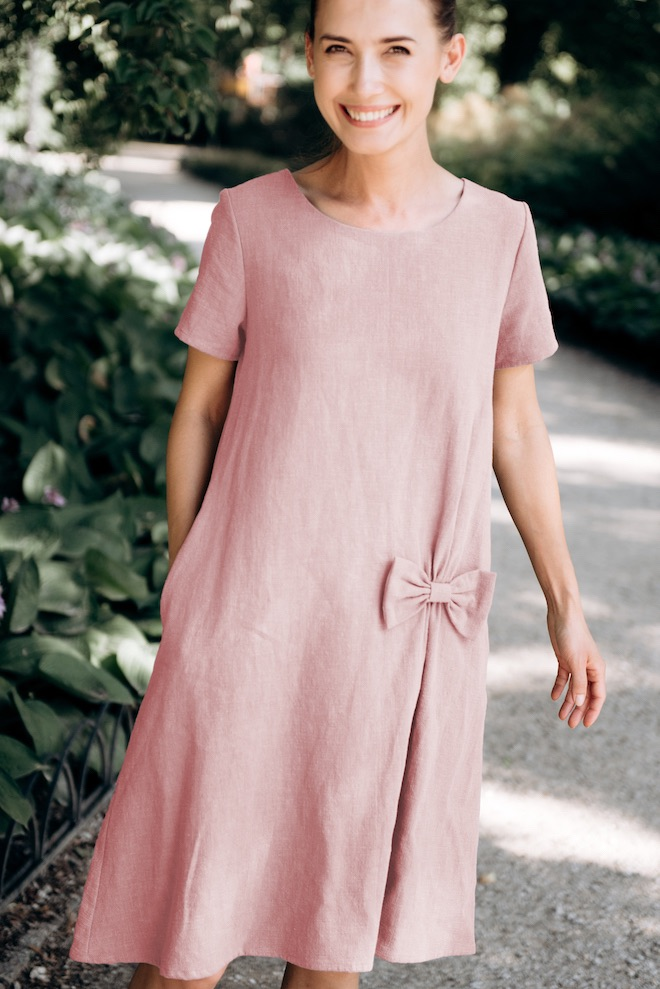 Linen swing dress in dusty rose SUMMER KISS