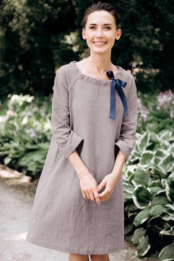 Soft linen dress in grey FRENCH