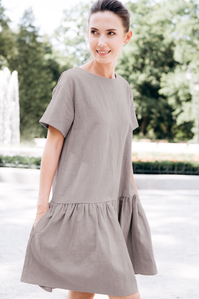 Grey linen dress BLOSSOM