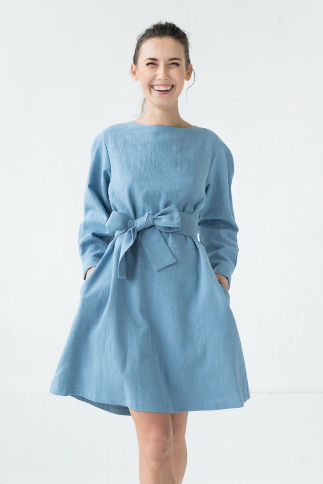 Linen mini dress in light blue SUGAR