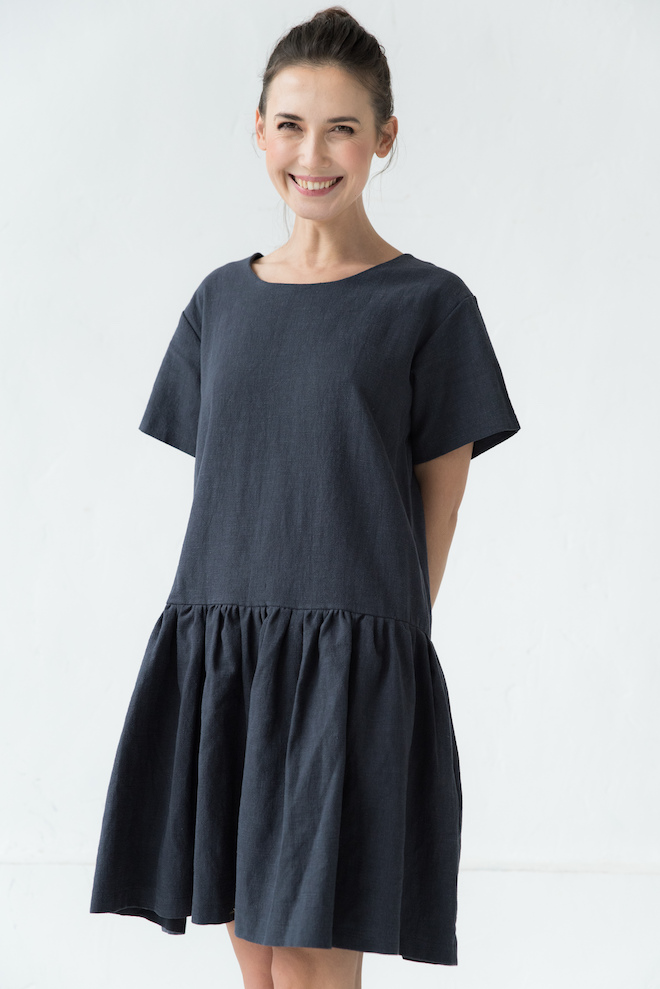 Linen button dress in deep blue AMELIA