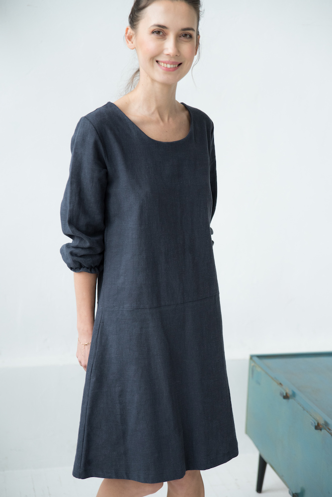 Linen a line dress in deep blue ELEGANT
