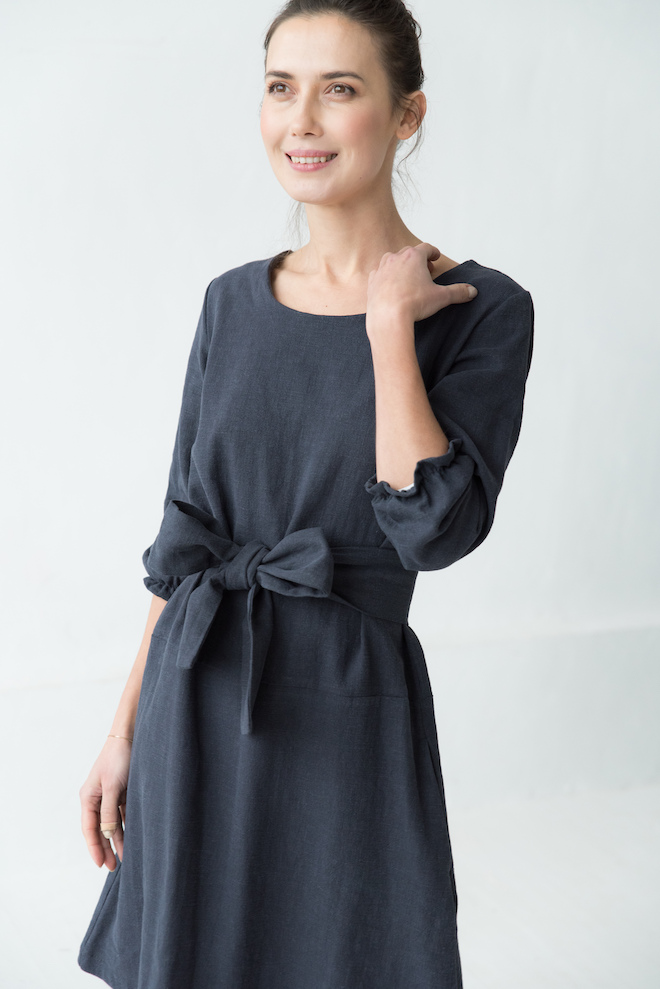 Deep blue linen dress EMMA