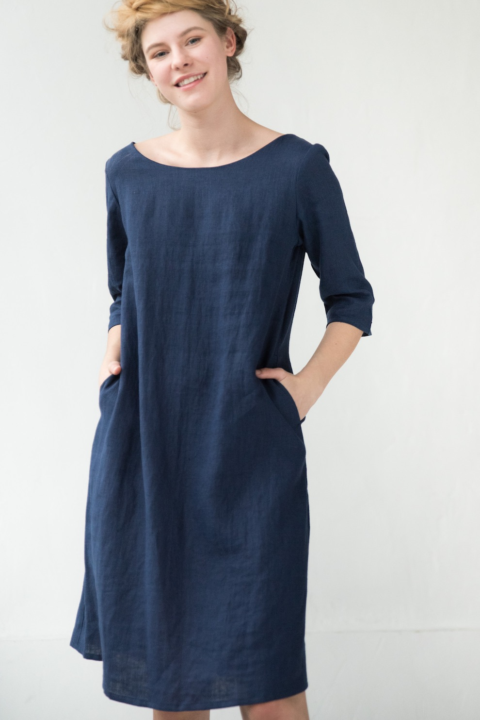 Linen tunic deep blue dress ALICE