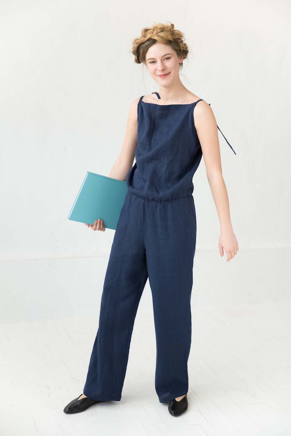 Womens linen jumpsuit in deep blue CHARLOTE
