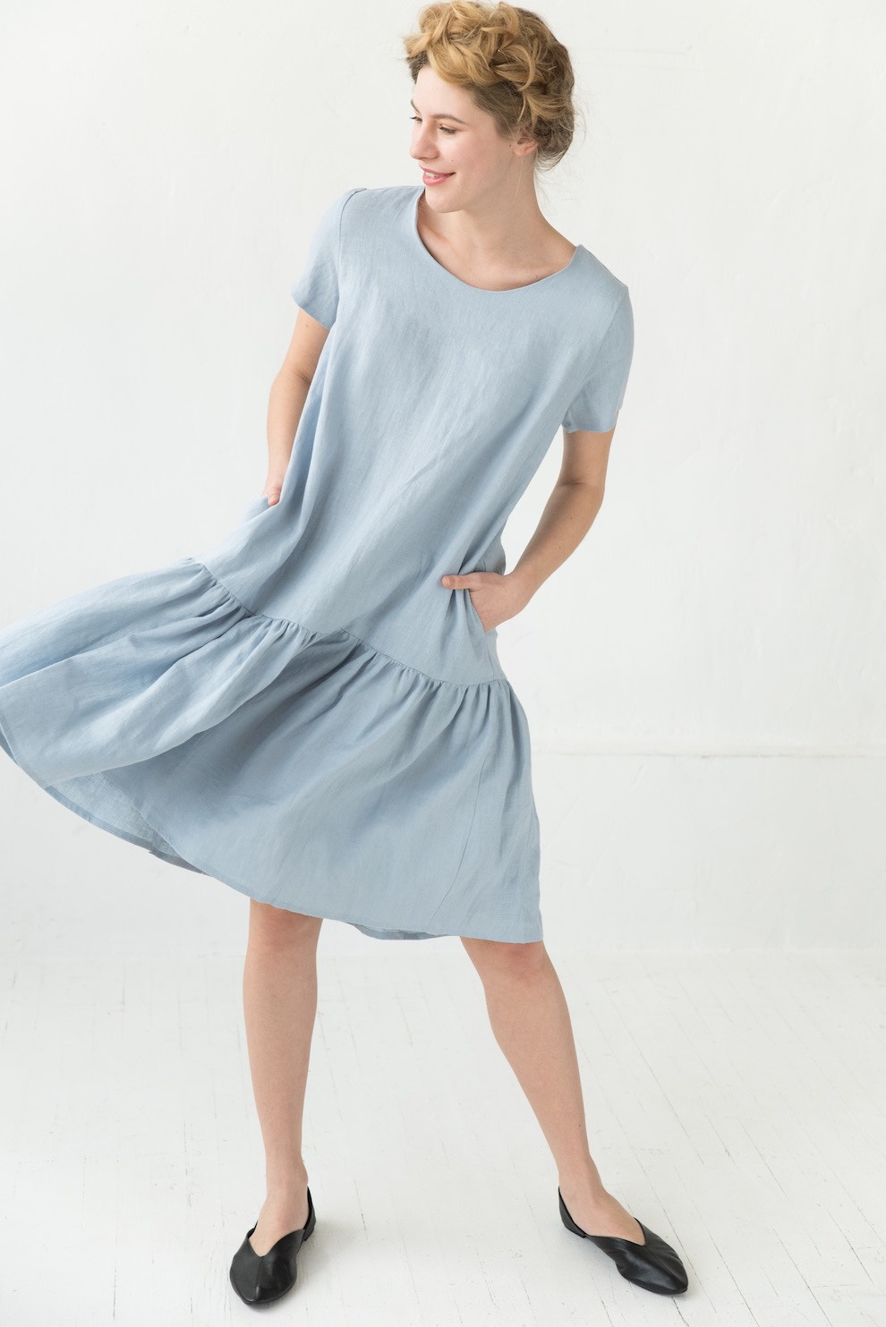 Linen ruffle dress in light blue BARCELONA