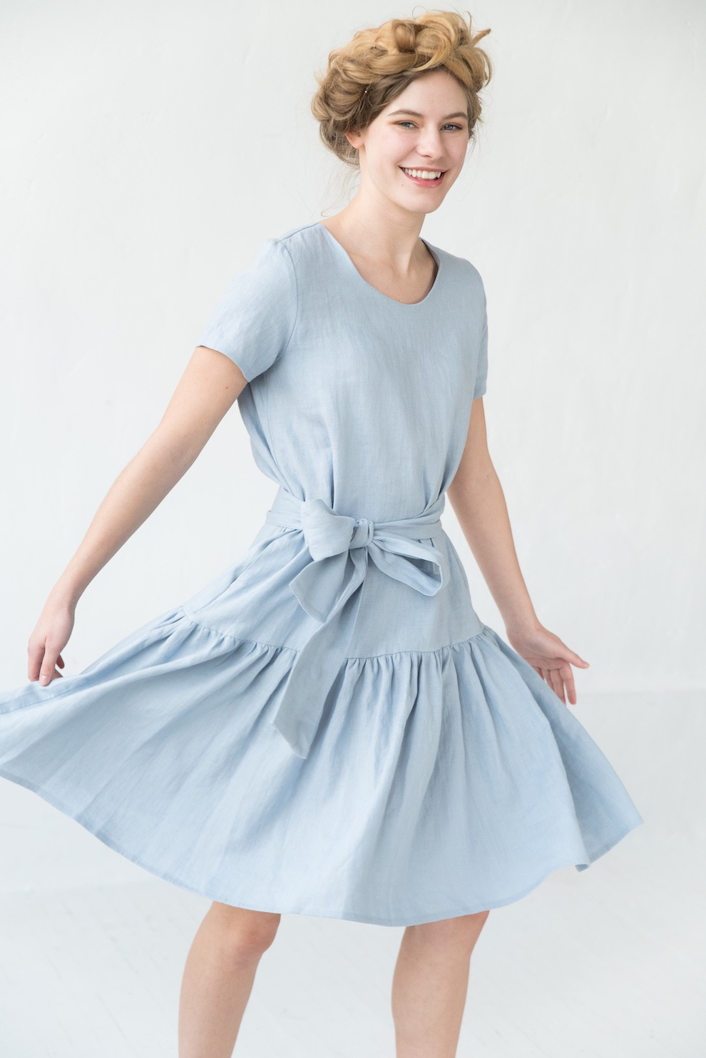 Basic linen dress in light blue CAPRI