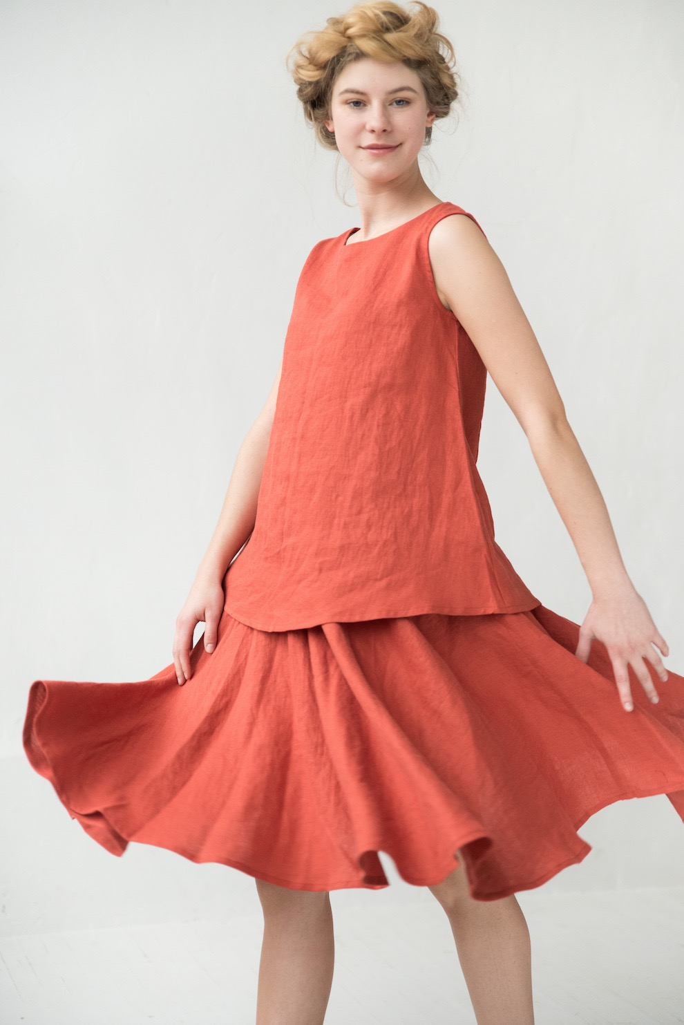 Linen skirt in orange VALENCIA