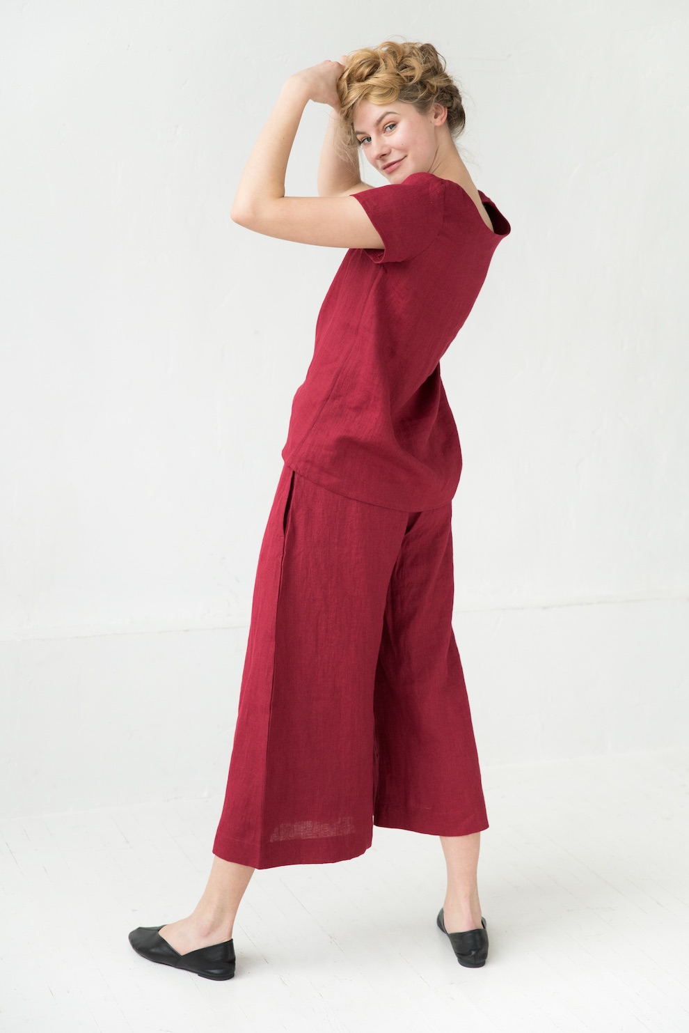 Linen short sleeve shirt in red VENICE