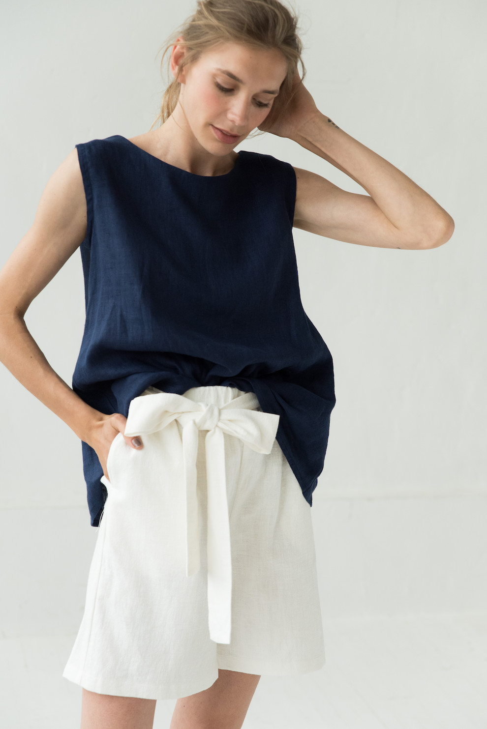 Linen shorts in white MIX&MATCH