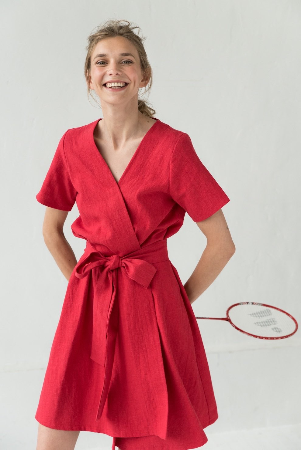 Linen wrap dress in red MARINE COLORS