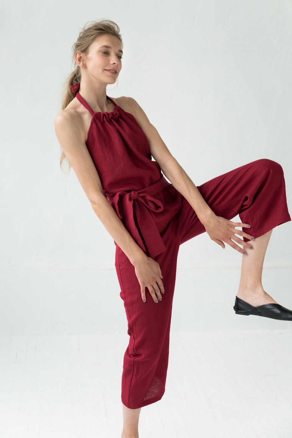 Red linen jumpsuit MAY