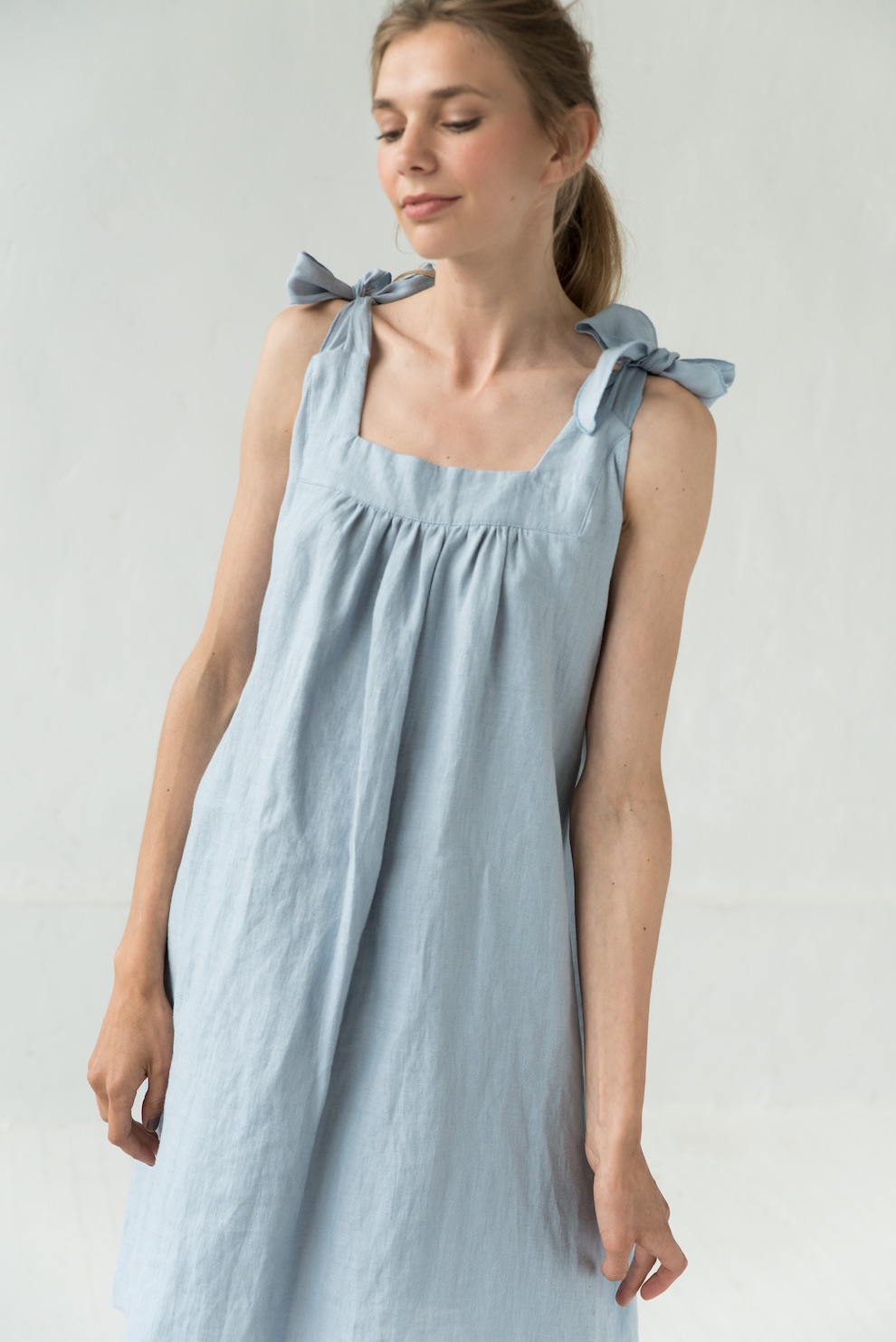 Linen sundress in light blue JULY