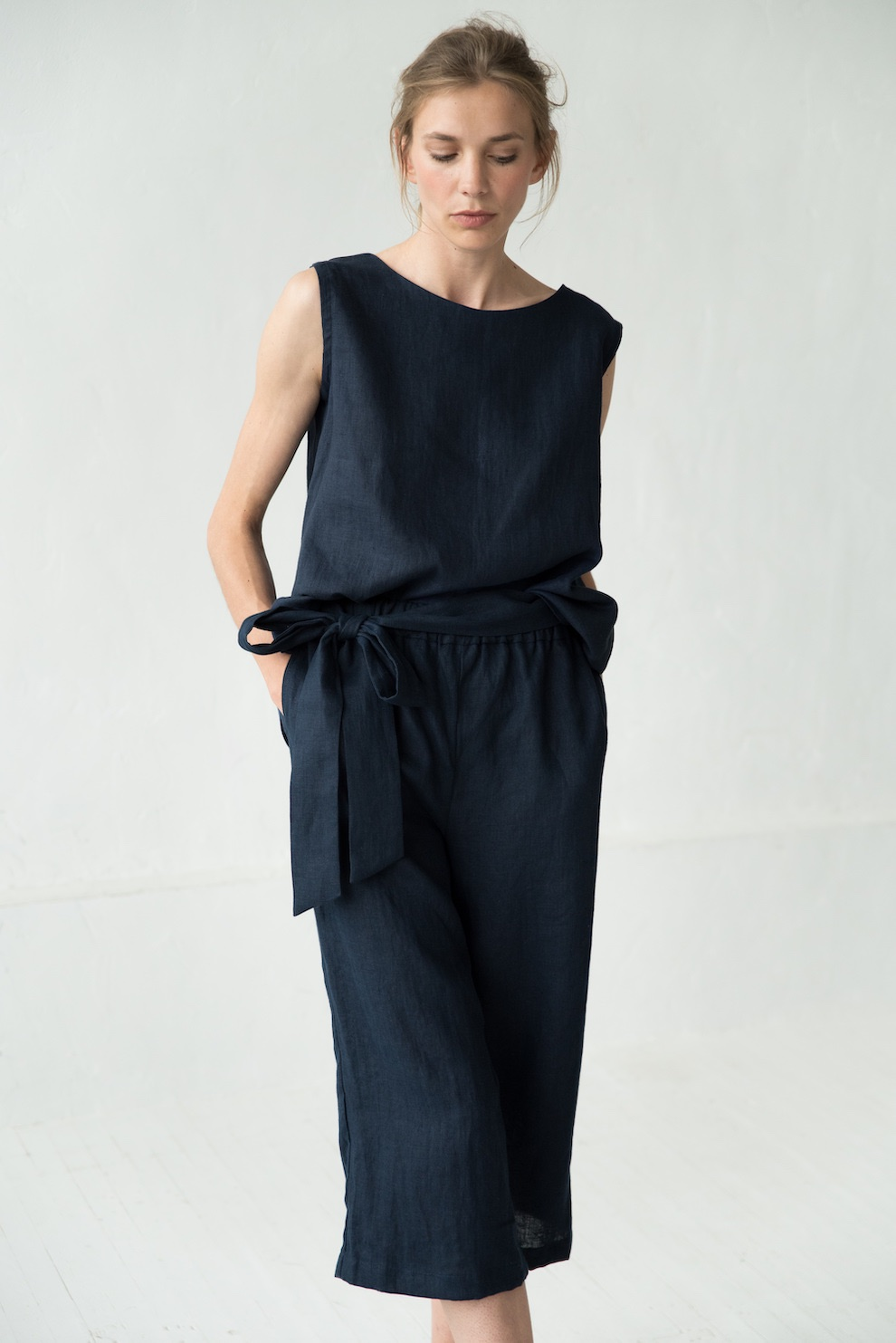 Deep blue linen pants MIX&MATCH