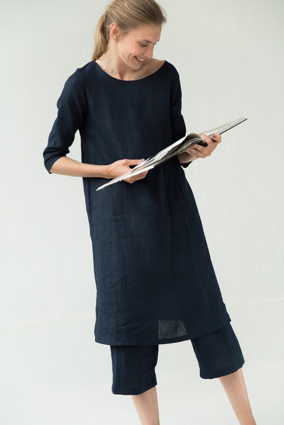 Linen shirt dress in deep blue MIX&MATCH